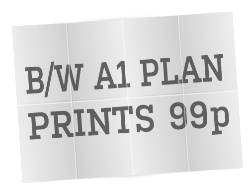 Black & White A1 Plan Printing from 99p