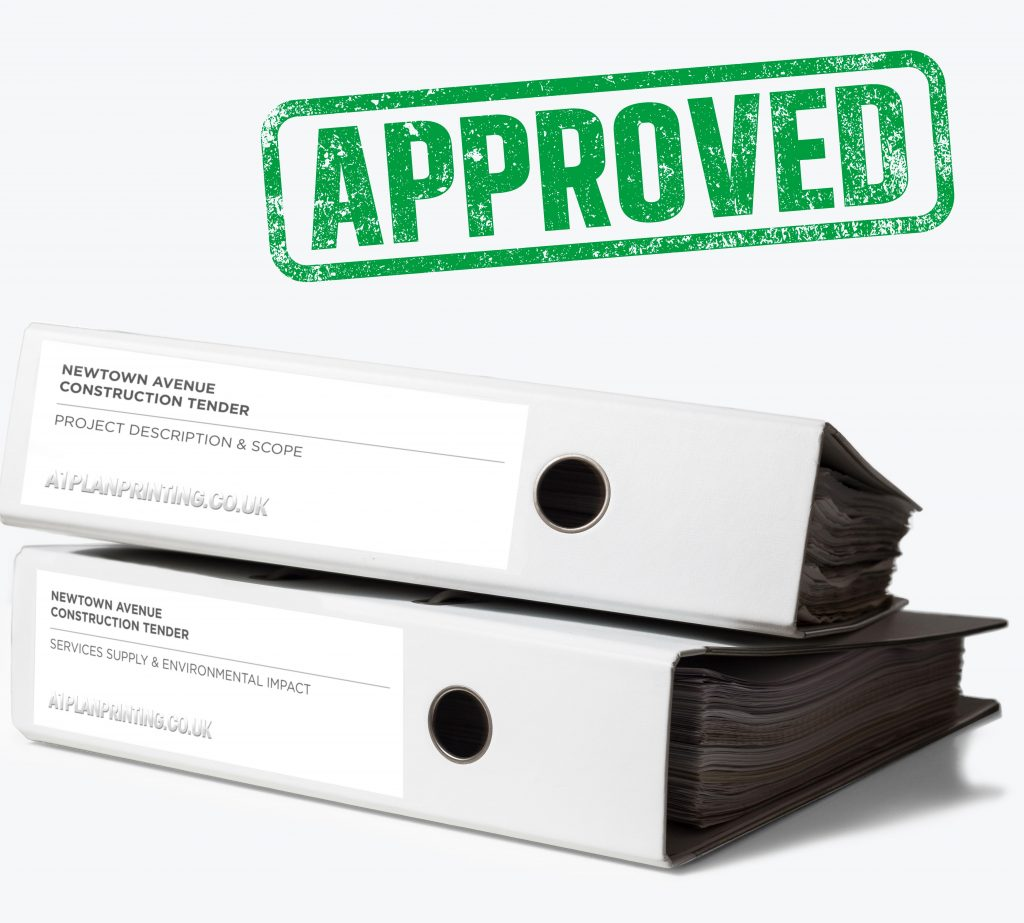Construction and building Tender bid printing large format and A4 binders